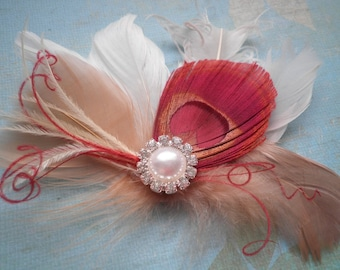 Peacock Wedding Hair Accessory, Bridal Facinator Head Piece, Feather hair clips, Peacock, Red, Ivory, beige, white, valentines, bridesmaids