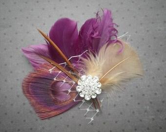 Plum, purple, Bridal, Feather, Facinator, Peacock, Hair, Piece, Wedding, Hair, Accessory, accessories, clip, fascinators - PLUM LOVE
