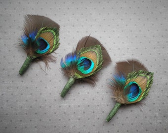 Peacock, boutonnieres, Weddings, Accessory, Peacock, brown, green, blue, bridal, boutonniere, grooms, lapel - CHOCOLATE PEACOCK BOUTONNIERE
