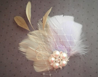 Bridal, lilac, Fascinator, Head, Piece, Feather Hair, Wedding, Accessory, purple, ivory, beige, champagne, clip, accessories - CAPPUCCINO