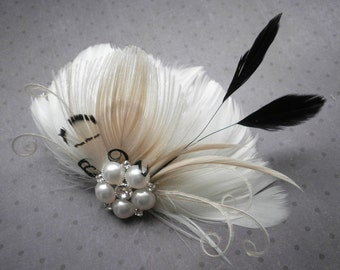 Bridal, Feather, Accessories, weddings, Fascinator, Ivory, white, Black, Peacock, hair, clips, Wedding, Accessory, veil - TOUCH OF BLACK