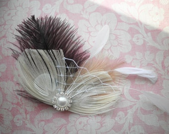 Wedding, Hair, Peacock, Ivory, feather, Accessory, Bridal, Fascinator, Head, Piece, Purple, Plum, eggplant - DEEP PURPLE DREAMS