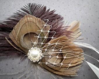 Peacock Wedding Hair Accessories, Feather, Hair Piece, Bridal Peacock Facinator, Peacock, Purple, Brown, eggplant - PLUM PRINCESS
