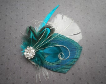 weddings, Feather, Facinator, Hair, Accessories, Peacock, Bridal, Fascinator, clip, Turquoise, teal, aqua, blue, ivory - TROPICAL TWIST