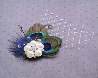 Bridal Peacock Fascinator, Peacock, Feather Hair Piece, Wedding Hair Accessories, peacock feather hair clip - DOUBLE PRETTY PEACOCK