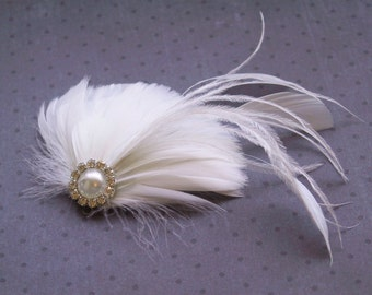 White Wedding hair accessory, Wedding, Feather, Accessories, Bridal, Fascinator, Head Piece, Hair PIece, hair clip, facinator - WHITE DREAM