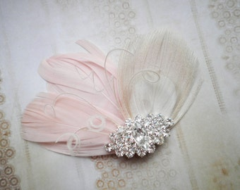 Wedding, Hair, Accessories, Peacock, Feather, Facinator, Pink, hair clip, Ivory, Peacock, Bride, bridal - PETITE PRINCESS Me Pink