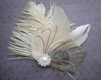 Feather, weddings, Hair, Accessories, wedding, accessory, grey, bridal, clip, gray, peacock, ivory, brides - GRAY & IVORY Beauty