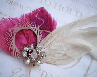 Wedding Hair Accessory, Bridal Fascinator Head Piece, Feather hair clips, Peacock, Ivory, Pink, bridesmaids - HOPPING HOT PINK & Ivory