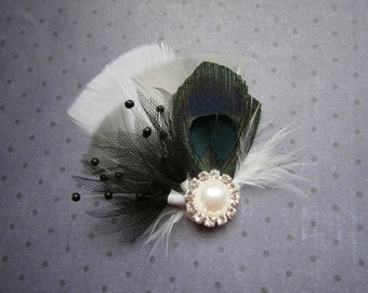 Bridal, feather, Fascinator, Black, gray, grey, Peacock, Head, Piece, Wedding Hair, White, clip, accessories - DOMINO