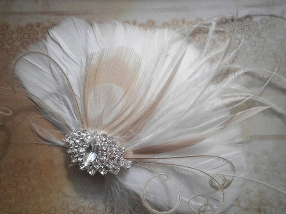 White, weddings, hair, accessories, Bridal, Fascinator, Feather, Feathered, Clip, Wedding, brides, bride, ivory, peacock - BRIDAL BLISS