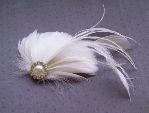 White Wedding hair accessory, Wedding, Feather, Accessories, Bridal, Fascinator, Head Piece, Hair PIece, hair clip, facinator - WHITE DREAM