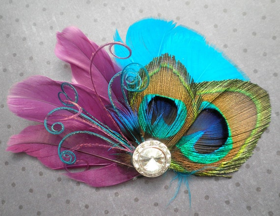 Peacock Bridal Fascinator, Feather Hair Piece, Wedding Hair Accessory, peacock feather hair clip, Purple, Teal, Blue  - PLUM PEACOCKS