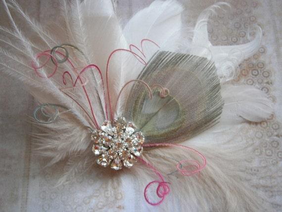 Bridal Fascinator Peacock Hair Piece, Feather Head Piece, Wedding Hair Accessory, peacock hair clip, gray, pink, white, tan - GRAY & PINK