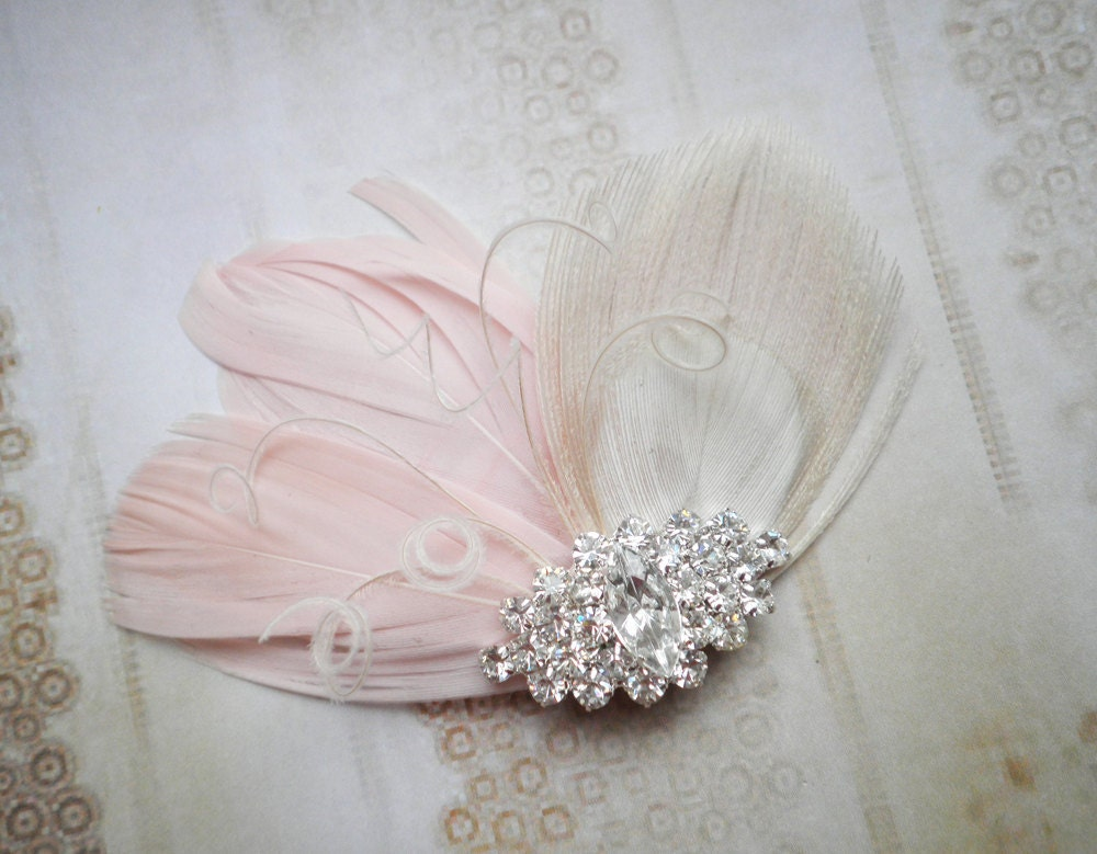 Wedding Hair Accessories Peacock Feather Facinator Pink