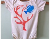 infant onesie or tshirt, organic and hand painted, fish and coral