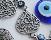 Mevlana Tulip Calligraphy Wall Hanging Amulet Handmade Turkish Silver Plated Evil Eye Bead
