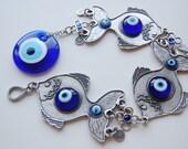 Three Fish Wall Hanging Amulet Handmade Turkish Silver Plated Evil Eye Bead