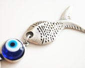 Fish Handmade Evil Eye Silver Plated Key Chain