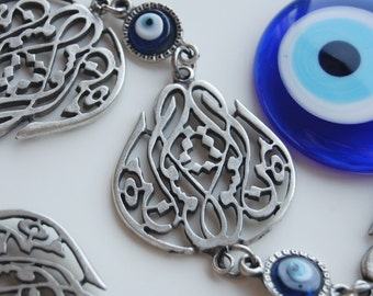 Mevlana Tulip Calligraphy Wall Hanging Amulet Handmade Turkish Silver Plated Evil Eye Bead