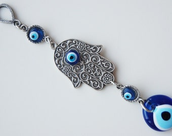 Hamsa Hand Blue Evil Eye Silver Plated Turkish Wall Hanging