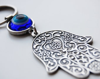 Hamsa Hand Key Chain Handmade Evil Eye Silver Plated
