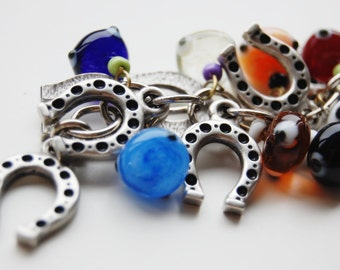 Horse Shoe Bunch Colorful Evil Eye Handmade Silver Plated Key Chain