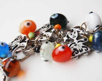 Girls Bunch Key Chain Handmade Colorful Evil Eye Silver Plated