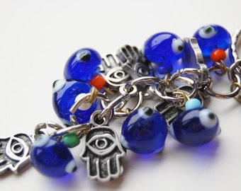 Hamsa Hand Bunch Key Chain Handmade Blue Evil Eye Silver Plated