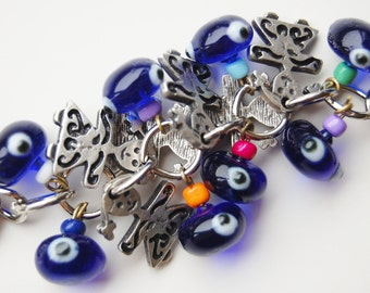 Girls Bunch Key Chain Handmade Blue Evil Eye Silver Plated