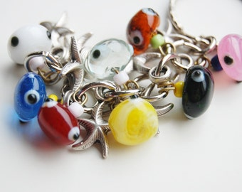 Starfish Bunch Key Chain Handmade Colorful Evil Eye Silver Plated