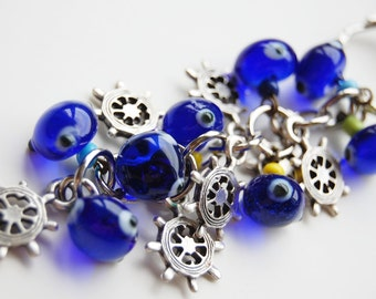 Rudder Bunch Blue Evil Eye Key Chain Handmade Silver Plated