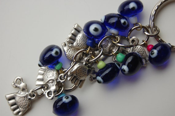 Elephant Bunch Blue Evil Eye Handmade Silver Plated Key Chain