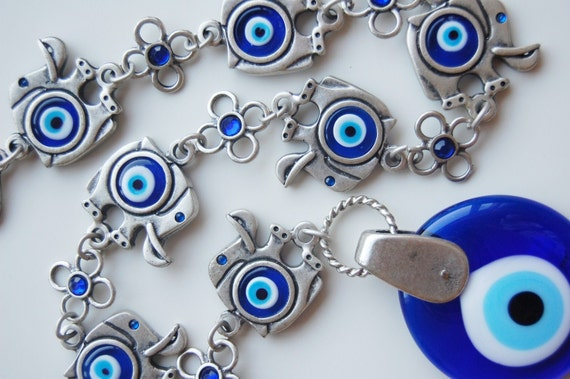 7 Elephant with Evil Eye Beads Amulet Handmade Turkish Silver Plated Wall Hanging