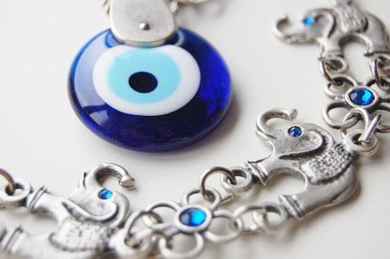 Seven Elephant Wall Hanging Amulet Handmade Turkish Silver Plated Evil Eye Bead