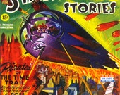 18x24 Vintage Sci-Fi Comic Book Print. Startling Stories - Pirates of the Time Trail Poster-096