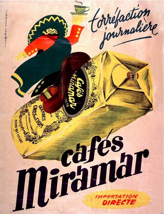 Vintage French Advertisements 11x14 Cafes Miramar Coffee