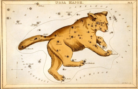 Vintage Constellation Reproduction Print. Ursa Major. Bear. Urania's Mirror Mythology Astronomy Astrology Diagram Star Chart - CP214