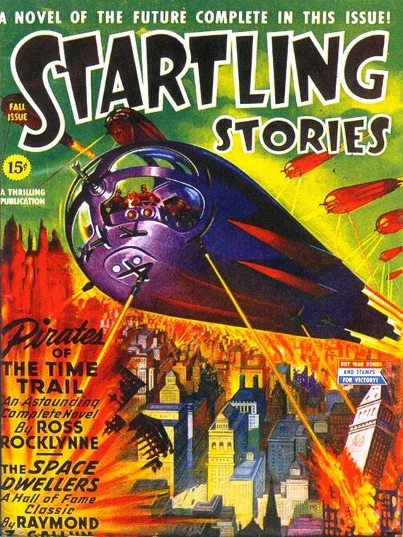 Sci Fi Book Cover Art : Vintage sci fi comic book print startling stories