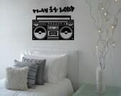 Kids Vinyl Wall Art Radio Boombox Urban Hip Hop Kids Vinyl Wall Mural Decal Kids Vinyl Wall Art