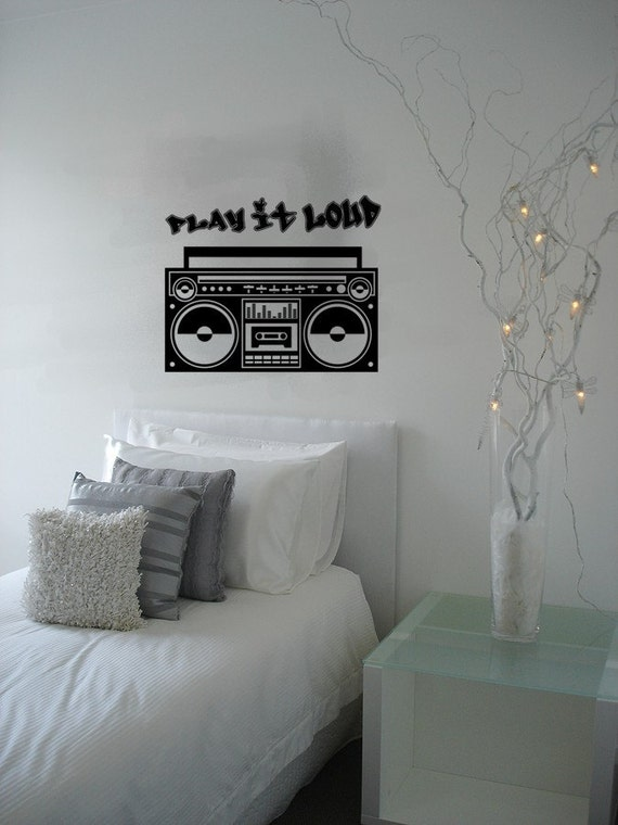 Kids Vinyl Wall Art Radio Boombox Urban Hip Hop Kids Vinyl Wall Mural Decal Kids Vinyl Wall Art