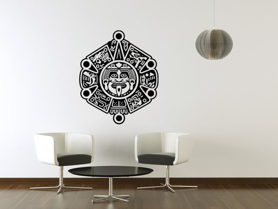 Items similar to aztec indian vinyl decal symbol wall for Aztec mural painting