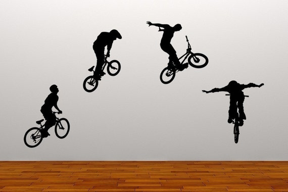 Bikers Bike Tricks Vinyl Wall Murals Decals Kids Children Dorms Business