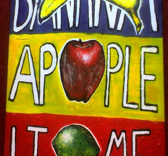 Original Painting - Fruit Painting - Food Painting - Kitchen Painting - Medium Painting - Red Painting - Blue Painting - Yellow Painting