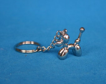 Shiny Silver Balloon Dog Key Chain Balloon Animal Accessories