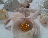Yellow Amber Necklace, Mothers Day Necklace, Slide Necklace, Amber Round CZ Diamond, Yellow Silver Slide Choker Necklace