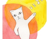 Dancing Illustration- Meow the Cat Busts a Move- 5x7 Red Orange Yellow Print