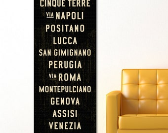 ITALIAN Decor, Italy Subway Sign Art, Italian Kitchen Decor, Subway Art, Travel Poster, Tuscan Wall Art, Italian Wall Art, Word Art. 20 x 60
