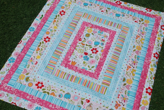 Custom/Reserved for Meghan. Riley Blake, Sunny Happy Skies. COUTURE Baby Quilt. 38x45 QUILTED