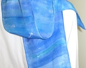 Blue and aqua hand painted silk scarf